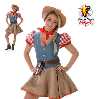 Ladies Rodeo Cowgirl Costume Womens Sexy Wild West Texan Doll Fancy Dress Outfit