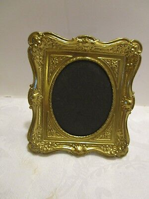 """Antique EDWARDIAN 1928 Brass TABLE TOP Easel Picture Embossed FRAME 5½"""" tall"""