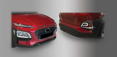 For Hyundai Kona 2017+ Chrome Front and Rear Fog Light Trim set
