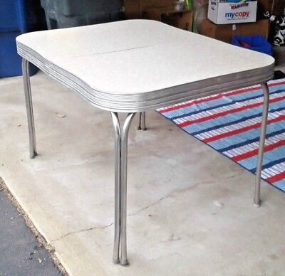 Vintage Original Chrome Kitchen Table Mid Century Modern 1950s Retro w Draw