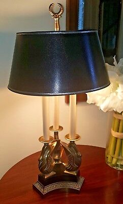 Vintage Ethan Allen Brass Bouillotte Neoclassical Swan Style Table Lamp Rare
