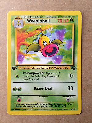Weepinbell Pokemon Card (1st Edition Jungle Set 48/64) NM/Mint Condition