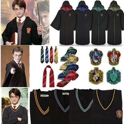 Harry Potter Cosplay Gryffindor Slytherin Hufflepuff Ravenclaw Cloak Sweater Tie