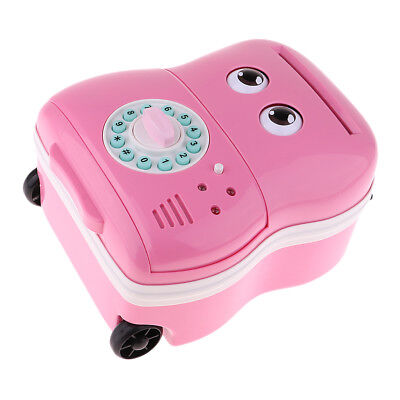 Electronic Password Piggy Bank Automatic Roll Trolley case Money Bank Pink