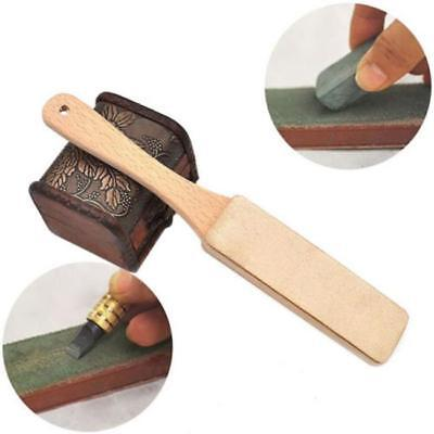Wooden Handle Leather Polish Sharpening Strop Sharpener Handmade Razors Tool FS