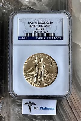"2006 W Eagle, US, NGC MS 70, ""Early Releases"", 1 oz Fine Gold Coin - DPSGC13"