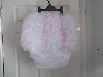 Unisex~Adult Baby~Sissy~Maids~ Pvc Lined Organza Frou Frou Frilled Nappy Cover