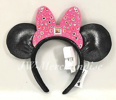 Disney Parks Minnie Mouse Ears Pink Bow Gemstones Headband NEW