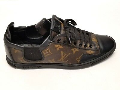 LOUIS VUITTON MEN S Slalom Brown Monogram Black Leather Sneaker Sz ... 045d0d513cf