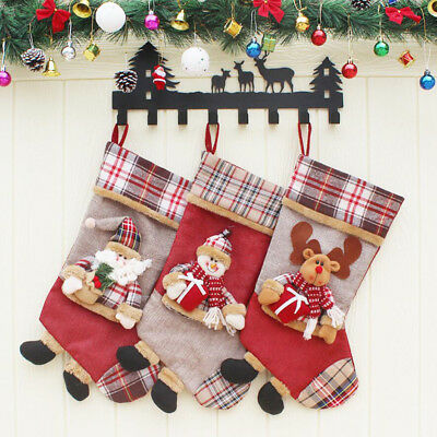 Christmas Gift Stocking Santa Claus Stereoscopic Snowman Elk Hanging Socks