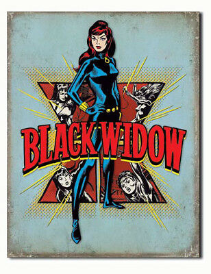 Marvel Comics A3 Retro Tin Metal Sign 'BLACK WIDOW' 41x32cm Licensed Avengers