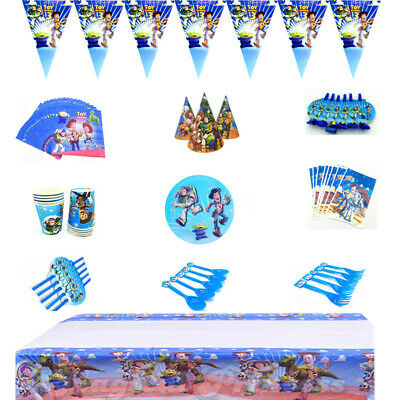 Toy Story Birthday Party Kids Tableware Decoration Plates Tablecloth Banner Cups