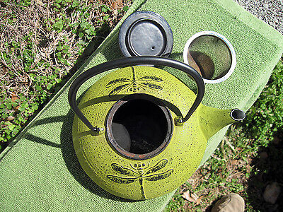 Lime Green DragonFly Oriental Japan Cast Iron Tea Kettle Teapot Signed 62-70 mm
