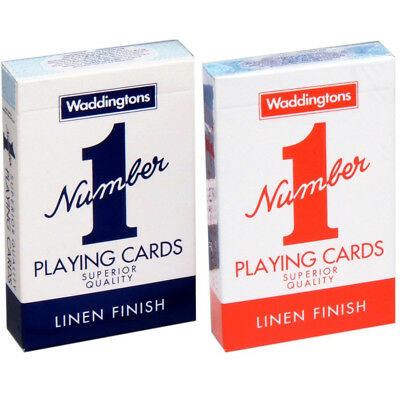 Genuine Waddingtons No.1 Classic Playing Cards Twin Pack Red & Blue Poker Game