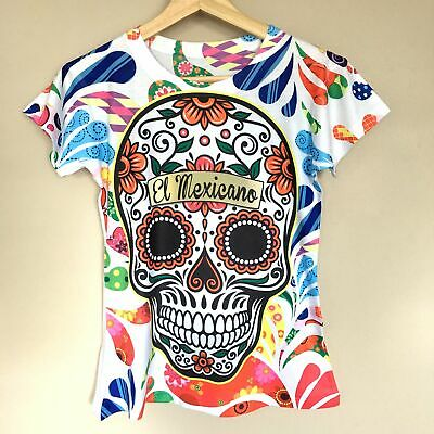 Sugar Skull Halloween Colorful Graphic Tee Mexican T-Shirt New Size M, L, XL