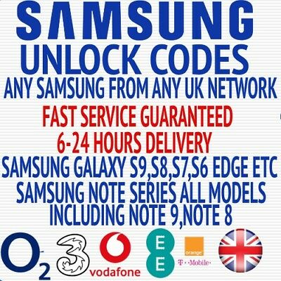 Unlock Code For Samsung Galaxy S5 S6 S6 S7 S8 S9 S9+ Plus UK O2 EE Three Tesco