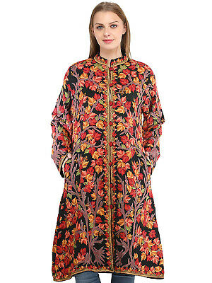 Indian Designer Black Jacket from Kashmir with Hand Embroidered  Heavy Work 0809