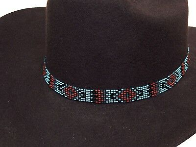 WESTERN VINTAGE BEADED Hatband Stretch Multi Cowboy Rodeo Hat Band ... 328c7fa1ad0e
