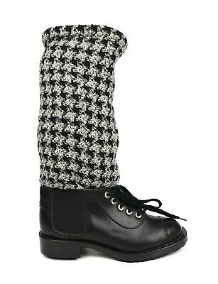 9a2bf830cbf Chanel Boots Combat Sock Black White Houndstooth Lace Up Tweed Shoe 37.5 US  7.5