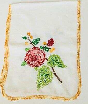 Vintage Hand Embroidered RED ROSES Table Runner Linen Cloth Lace Trim