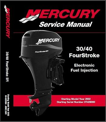 02-12 Mercury 30 / 40 FourStroke EFI Outboard Motor Service Repair Manual CD