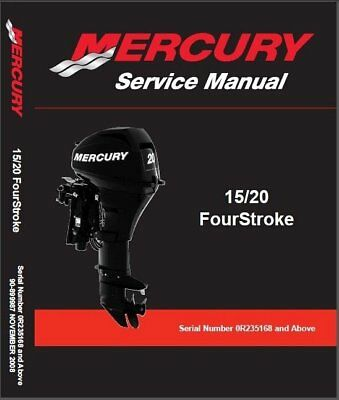2008-present Mercury 15 / 20 FourStroke Outboard Motors Service Manual on a CD