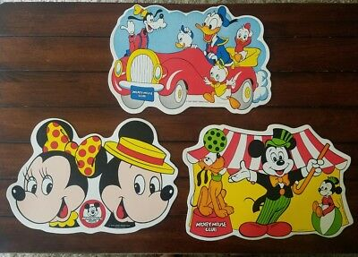 Vtg Mickey Mouse Club Disney Productions Placemats Minnie Donald Pluto Ullman Co
