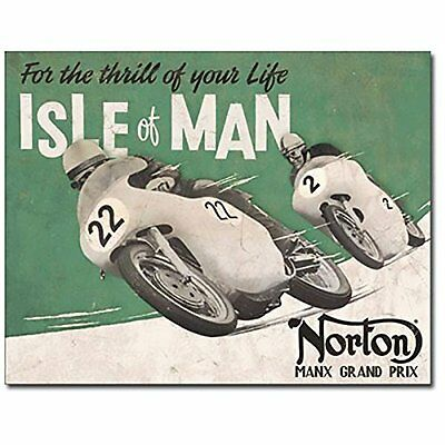 Norton - Isle of Man British Motorcycles Retro Garage Decor Metal Tin Sign
