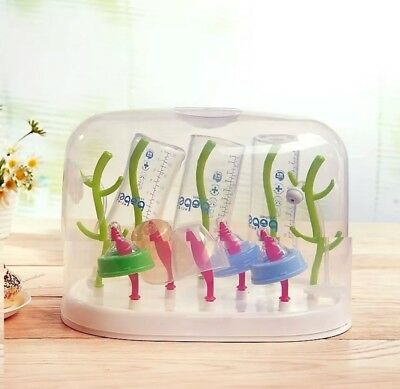 Tree Style Baby Bottle Anti-Dust Drying Rack Storage Case Holder Drainer All