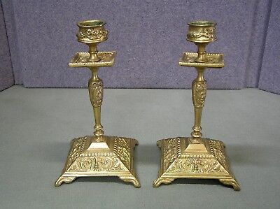 """Antiques French Empire Brass Candlesticks   6.1/2"""" Tall"""