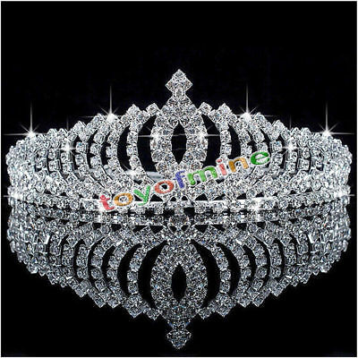 Wedding Bridal Princess Austrian Crystal Hair Accessory Tiara Crown Veil Newly