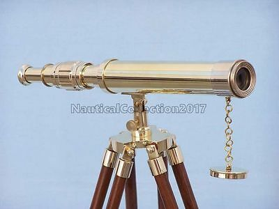 "Vintage Decorative 18"" Polished Brass Telescope With Wooden Tripod Stand"
