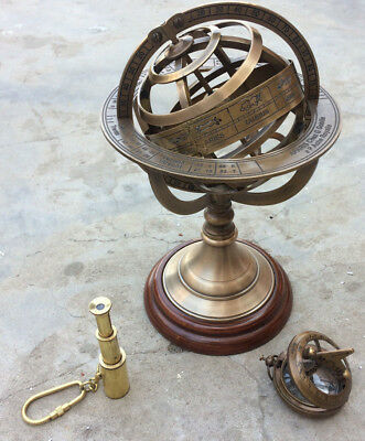 Beautifull Decorative Hand-Made 8 Inches Brass Armilliary Sphere Globe