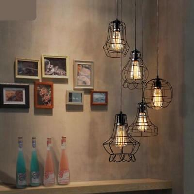 Pendant Lamp Single Head Iron Cage Painted Vintage Lighting Features Decorations