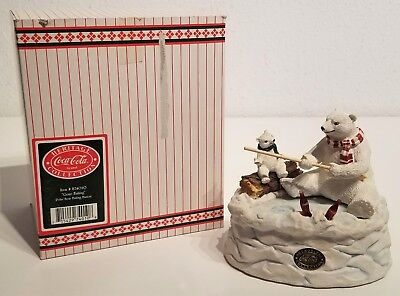 Coca-Cola - GONE FISHING - Polar Bear Musical Figurine - Heritage Collection