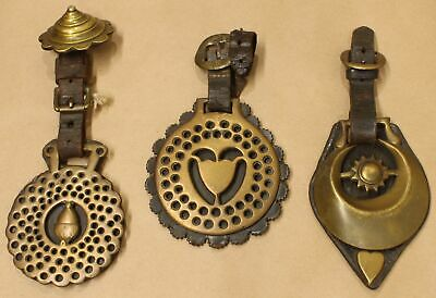 Antique 19th Century Brass and Leather Horse Bridle Medallion Set 914D-116