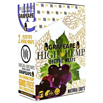 High Hemp Organic Wraps Grapeape 25 Pouches in a Box (50 Wraps Total)