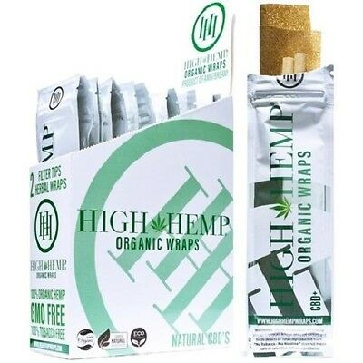High Hemp Organic Wraps Natural 25 Pouches in a Box (50 Wraps Total)
