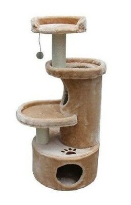 Cat Tree Condo Perch Bed Scratching Posts Tunnel With Toy Beige Color