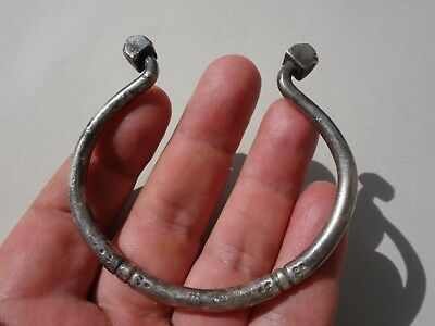 Ancient Viking Solid Silver bracelet,nicely decorated osmogram beads at the ends