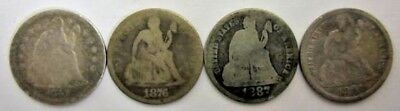 Lot Of 4 Seated Liberty Dimes 1857-1891