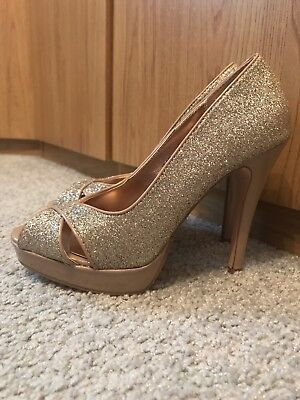 5cbe1902967 Dorothy Perkins Ladies Peep-toe Shoes Gold Glitter Size 4