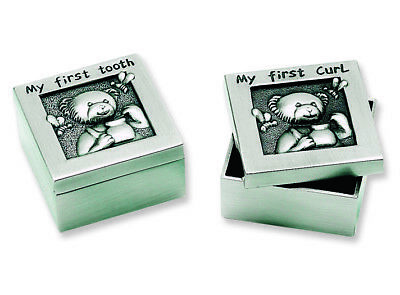 Pewter Finish Teddy First Tooth and First Curl Set