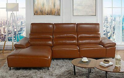 Low Profile Sectional Sofa With Left Chaise Leather Match Light Brown