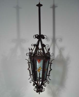 *French Antique Neo Gothic Iron and Stained Glass Chandelier/Lamp