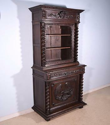 *French Antique Renaissance Revival Hunting Cabinet Deux Corps/Bookcase/Buffet
