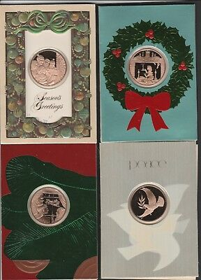 franklin mint vintage christmas cards 4 with bronze medals free shipping - Mint Christmas Cards