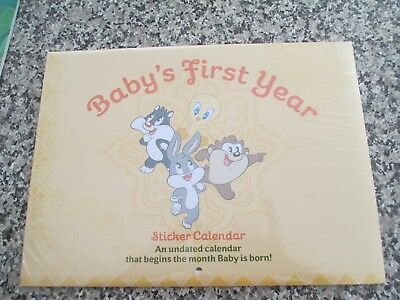 BABY'S FIRST YEAR- Undated Sticker Calendar - UNISEX - New & Sealed LOONEY TUNES