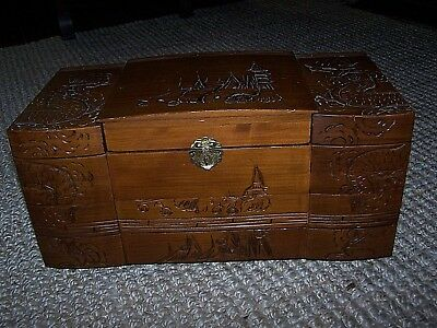 Vintage Asian Oriental Hand Carved Large Wood Jewelry Box Dragon Pagoda 5 Drawer