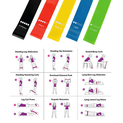Resistance Loop Exercise Bands Set of 5 for Fitness StretchingLegs Butt Glu